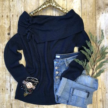 Lace Up Off the Shoulder Sweater: Navy
