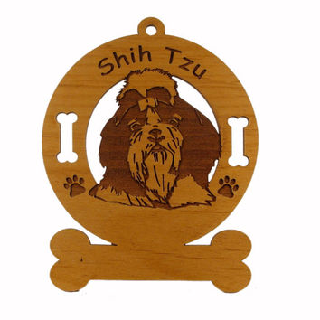 3963 Shih Tzu Head Personalized Dog Ornament