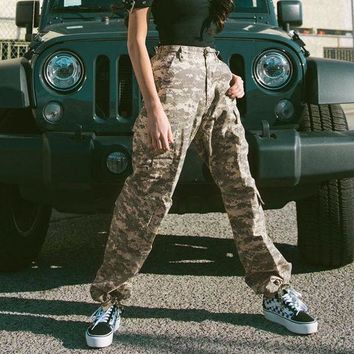 Women Casual Fashion Camouflage Multi-pocket Harem Pants Leisure Pants Trousers