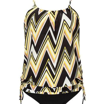 AuntTaylor Womens Stripes Line Up Double Up Tankini Bikini Swimsuits Yellow#8 S