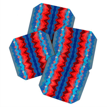 Elisabeth Fredriksson Red Sun Pattern Coaster Set