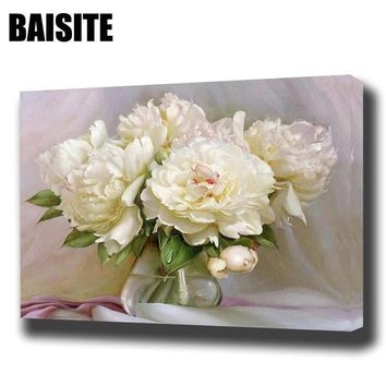 BAISITE DIY Framed Oil Painting By Numbers Flowers Pictures Canvas Painting For Living Room Wall Art Home Decor E774
