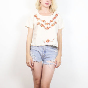 Vintage Hippie Top Tan Beige Brown Floral Embroidered Bohemian Blouse 1970s Tunic Top 70s Festival Boho Embroidery Tshirt Flower Child S M