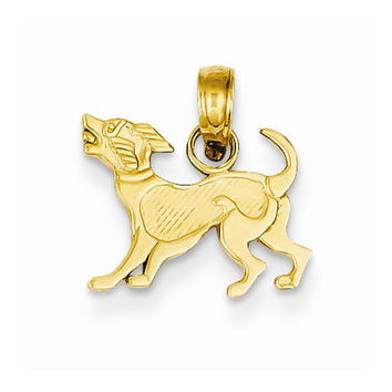 14k Yellow Gold Dog Pendant