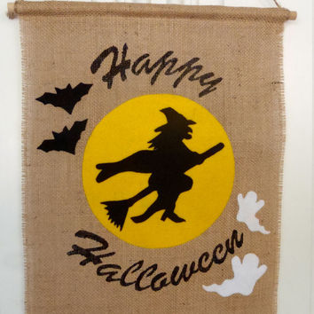Happy Halloween Door Banner Witch in the Moon / Burlap and Felt Handmade by FeistyFarmersWife