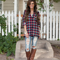 Sun Shines Oversized Plaid Top Red