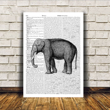 Dictionary print Animal art Elephant poster Wall decor RTA418