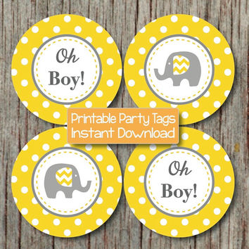 Oh Boy! Elephant Baby Shower Cupcake Toppers Yellow Grey diy Stickers Favor Labels Tags INSTANT DOWNLOAD pdf Printable Party Supplies 148