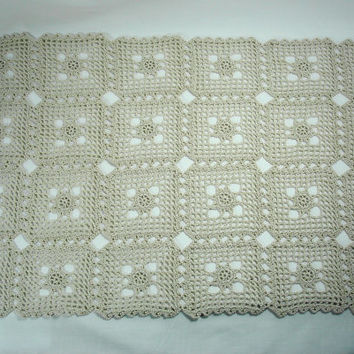 Natural Crochet Doily or Table Runner Rectangular Doily  Natural Color Doily