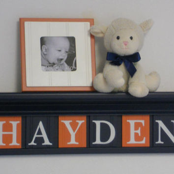 "NAVY and ORANGE Nursery Wall Decor / Room Decor - Personalized for Baby HAYDEN on 24"" Navy Shelf with 6 Orange and Navy Blue Wall Letters"