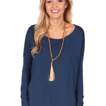 PIKO: Navy Love On Top Long Sleeve Tunic | Monday Dress Boutique