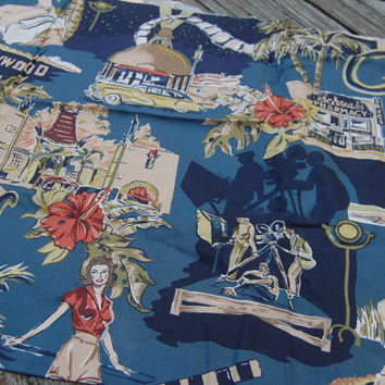Vintage Hollywood Themed Print Ciro's Schwab's Pharmacy Pin Ups Fabric 1 yd. x 43""