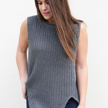 Charcoal Muscle Tank Sweater