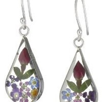 Sterling Silver Multi Pressed Flower Teardrop Earrings: Jewelry: Amazon.com