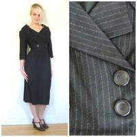50s vintage dress / Pin striped double breasted / Portrait collar / Retro / Rockabilly / size M L medium large