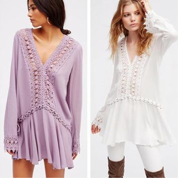Free People Fashion Bandage Hollow Embroidery Lace Stitching V-Neck Long Sleeve Mini Dress