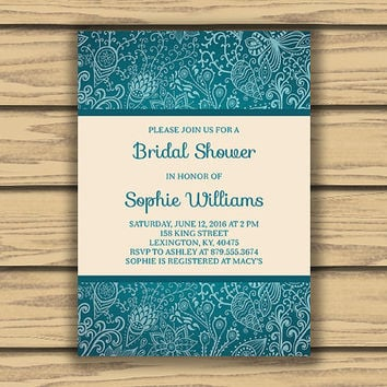 Turquoise Garden Bridal Shower Invitation, 5x7 Inch, Flower Art, Turquoise Pattern,  Printable