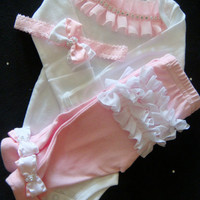 NEWBORN baby girl take home outfit complete with ruffles rhinestones bows headband, matching pants,
