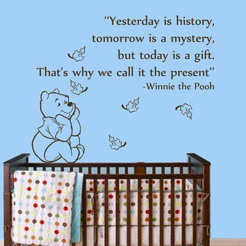 Winnie The Pooh Wall Decals Quote Today Is a Gift Children Vinyl Decal Sticker Baby Kids Art Mural Girl Boy Nursery Room Bedding Decor MR348
