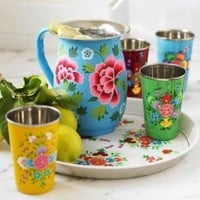 VivaTerra - Flowered Enamel Pitcher, Cups & Tray