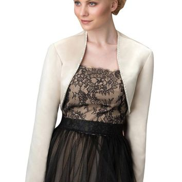 In Stock Wedding Accessory Satin and LACE Appliques Custom Made Long Sleeve Bridal Wedding Bolero Jacket Shrug Wraps WJ05