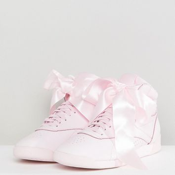 Reebok Classic Freestyle Hi Satin Bow Sneakers In Pink at asos.com