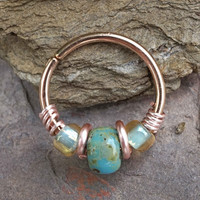 18 or 20 Gauge Rose Gold Beaded Turquoise Nose Hoop Ring or Cartilage Hoop Earring