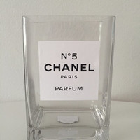 Chanel No. 5 Perfume Inspired Glass Rectangular Vase