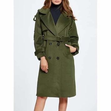 Lapel Belted Double Breasted Wool Blend Coat - Green L