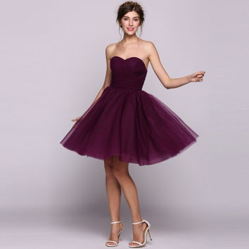 Women A-Line/Princess Sweetheart Knee-Length Tulle Bridesmaid Dress With Ruffle
