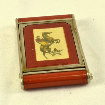Girey Compact 1936 Dallas - Texas Centennial - RARE - Guilloche - Camera Style - Red Celluloid - Cowboy on Rearing Horse - Texas Star