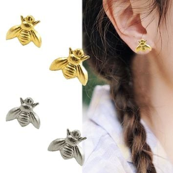 Hot Sale 1Pair Cute Tiny Bee Earring Jewelry Gold/Silver Plated Honey Bee Earrings Stud Unique Earrings Jewelry Women