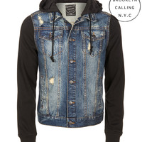 Aeropostale  Mens Brooklyn Calling Destroyed Denim Hoodie Jacket