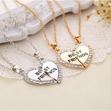 """Fashion Heart Rhinestone """"Best Friends"""" Letters Two Parts Pendant Necklace New Jewelry Gift"""