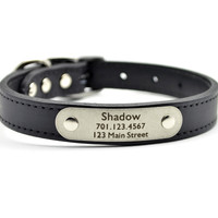 Leather Dog Collar With Personalized Nameplate - Black