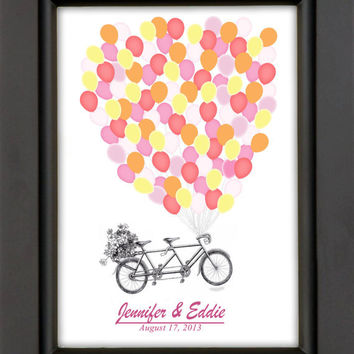 16x20 Modern Wedding Guest Book Alternative Tandem Bicycle With Balloons Sign In
