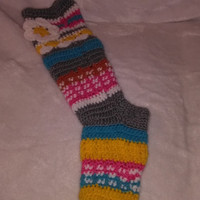 Crochet knee high slipper socks, knitted leg warmers, colourful knitted leg warmers with flowers