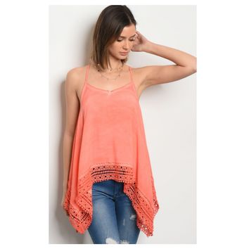 """Adorable Me"" Vibrant Coral Lace Trim Tank Top"
