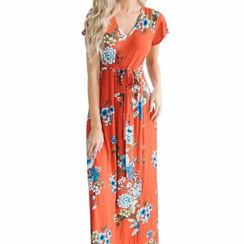 Poppy Red Floral Print Cap Sleeve Maxi Dress