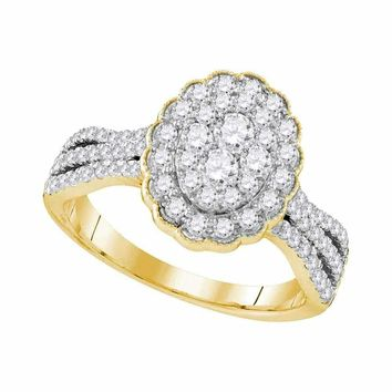 10kt Yellow Gold Women's Round Diamond Oval Flower Cluster Ring 1.00 Cttw - FREE Shipping (USA/CAN)