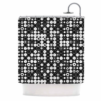 "Nandita Singh ""White & Black Funny Polka Dots "" Black Abstract Shower Curtain"