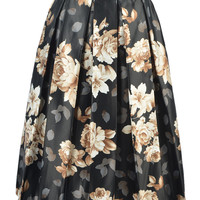 Black Floral Print Pleated Midi Skirt