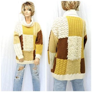 12034abce Womens 80s chunky sweater size M   cable knit oversized sweater