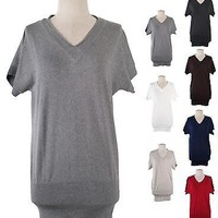 Sexy V Neck Short Sleeve Fitted Tunic Pullover Sweater Knit Top Bodycon Dress