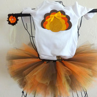 Baby girl Thanksgiving Onesuit, tutu and headband, Girls Thanksgiving bodysuit outfit, Girls Infant Thanksgiving clothes