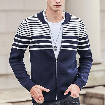 Autumn Winter Cardigan Sweater Men clothing high quality fashion Striped Knitted male Sweaters