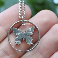 Butterfly open quarter cut coin necklace by NameCoins on Etsy