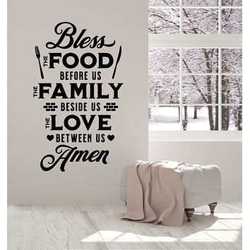 Vinyl Wall Decal Prayer Kitchen Quote Words Bless Food Art Dining Room Decor Stickers Mural (g832)
