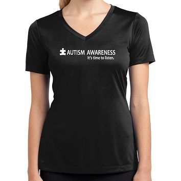 Buy Cool Shirts Autism Awareness Time to Listen Ladies Dry Wicking V-neck