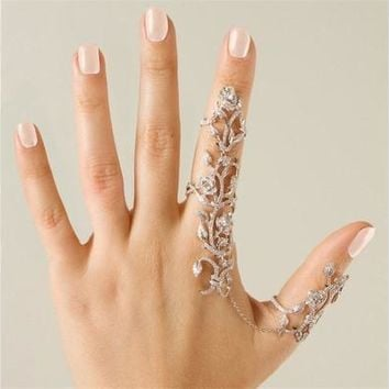 Women Fashion Jewelry Multiple Finger Stack Knuckle Band Crystal Rings Set [7983581959]